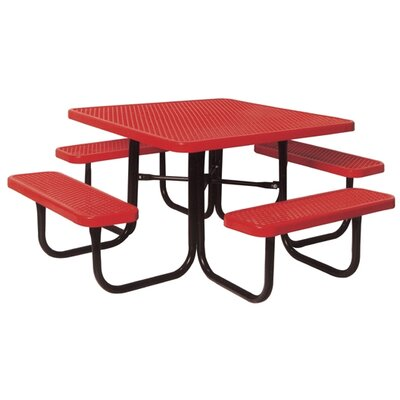 Square Picnic Table with Diamond Pattern Finish: Black/Red