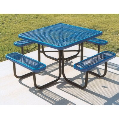Square Picnic Table with Diamond Pattern Finish: Black/Blue