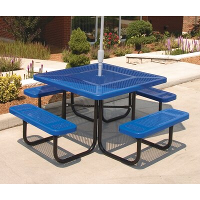 Square Picnic Table with Perforated Pattern Finish: Black/Red