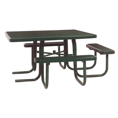 3-Seat ADA Square Picnic Table with Diamond Pattern Finish: Green/Green