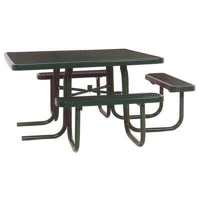 3-Seat ADA Square Picnic Table with Perforated Pattern Finish: Black/Red
