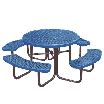Round Picnic Table with Diamond Pattern Finish: Blue/Blue