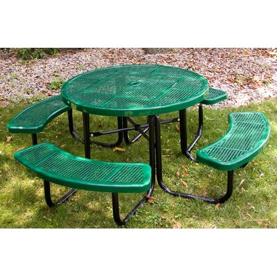 Round Picnic Table with Perforated Pattern Finish: Red/Red