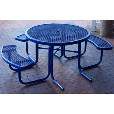 3-Seat ADA Round Picnic Set with Diamond Pattern Finish: Black/Blue