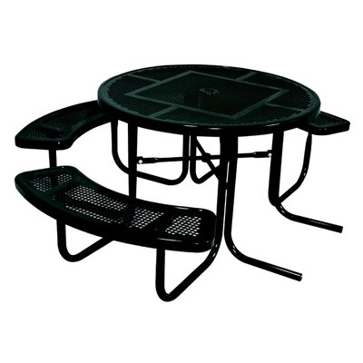 3-Seat ADA Round Picnic Table with Perforated Pattern Finish: Black/Red