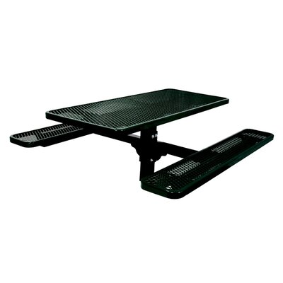 Single Pedestal Inground Picnic Table with Diamond Pattern Finish: Black/Green, Table Size: 4
