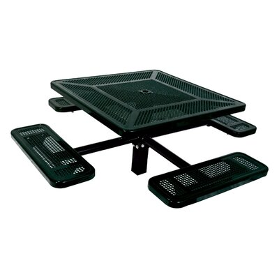 Single Pedestal Inground Square Picnic Table with Perforated Pattern Finish: Black/Green