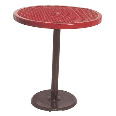 Portable Round Food Court Picnic Table with Diamond Pattern Finish: Black/Red