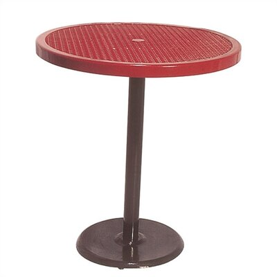 Portable Round Food Court Picnic Table with Perforated Pattern Finish: Black/Red
