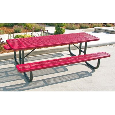 Ultra Play Picnic Table - Color: Red/Red, Table Top Size: 6'