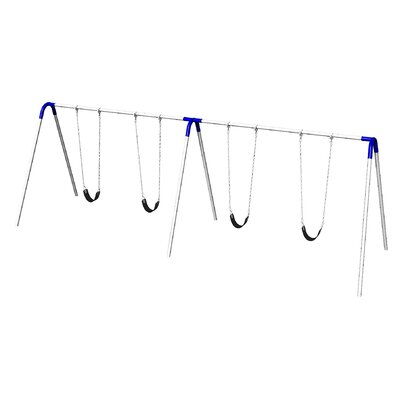 Double Bay Bipod Swing Set With 4 Strap Seats - Blue Yokes - Pbp-8-2s-blu - Outdoor Play Equipment Swing Sets And Playsets Swings PBP-8-2S-BLU