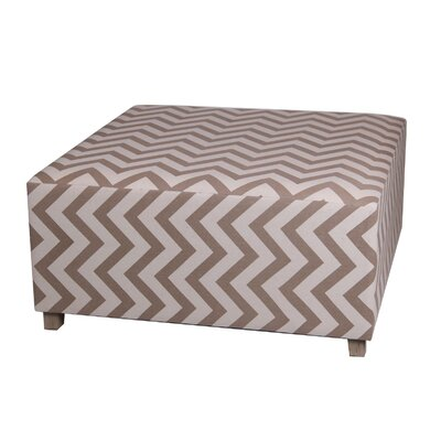Chevron Square Ottoman Upholstery: Brown