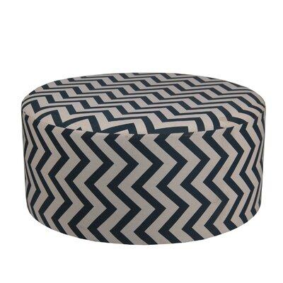 Chevron Round Ottoman Upholstery: Navy