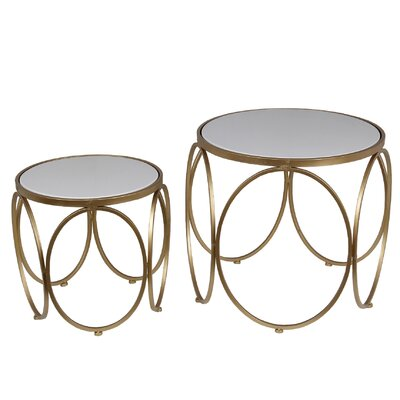 2 Piece Nesting Tables Color: Gold/White