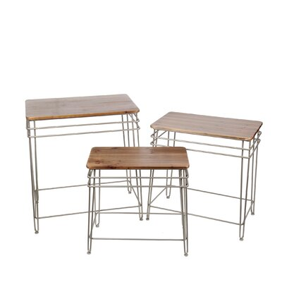 Zena Iron Wood 3 Piece Nesting Tables