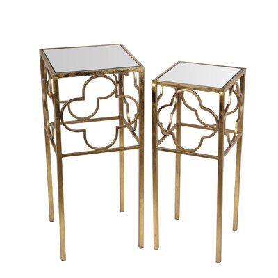 Medina 2 Piece End Table Set Finish: Gold