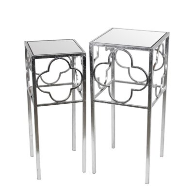 Medina 2 Piece End Table Set Color: Silver