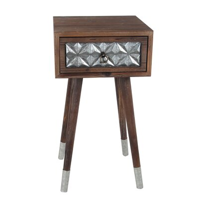 Hendrix 1 Drawer Wood Iron End Table