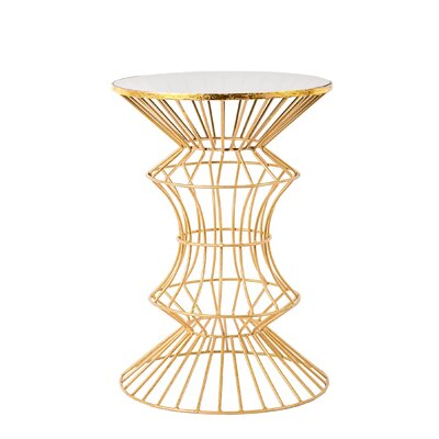 Alchiba Iron Wire End Table Color: Gold