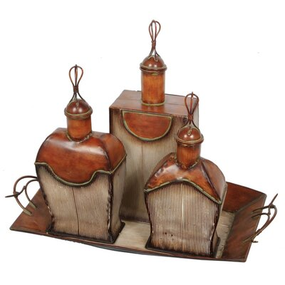Perfume Bottles and Tray (Set of 4)