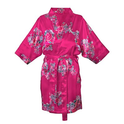 Floral Satin Bathrobe Color: Fuchsia, Size: S - M