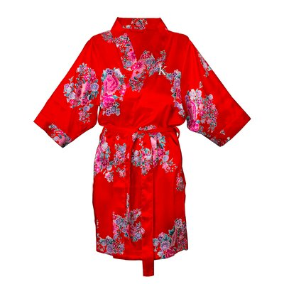 Floral Satin Bathrobe Color: Red, Size: L - XL