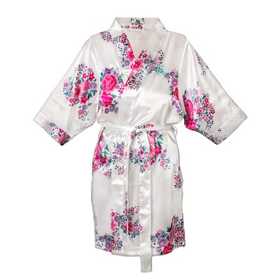 Floral Satin Bathrobe Color: White, Size: L - XL