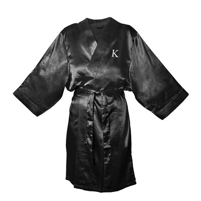 Satin Bathrobe Color: Black, Size: S - M