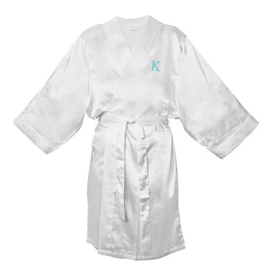 Satin Bathrobe Color: White, Size: L - XL