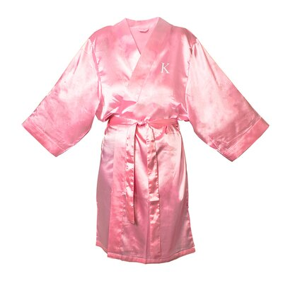 Satin Bathrobe Color: Light Pink, Size: L - XL