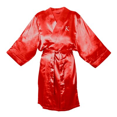 Satin Bathrobe Color: Red, Size: 1XL - 2XL