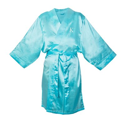 Satin Bathrobe Color: Aqua, Size: 1XL - 2XL
