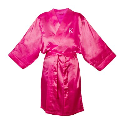 Satin Bathrobe Color: Fuchsia, Size: S - M