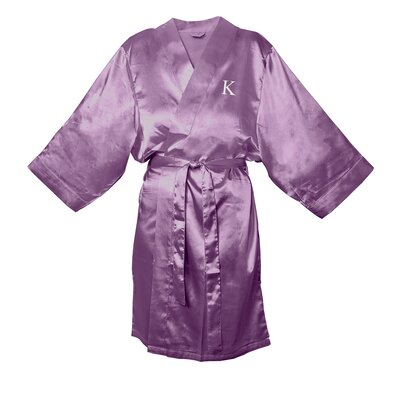 Satin Bathrobe Color: Purple, Size: 1XL - 2XL