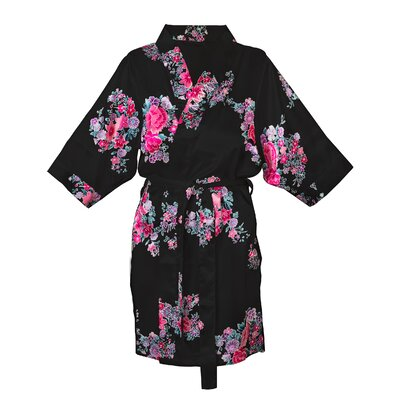 Floral Satin Robe Color: Black, Size: 1XL - 2XL