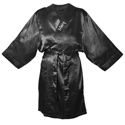 Satin Robe Color: Black, Size: L - XL