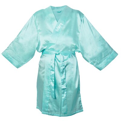 Satin Robe Color: Aqua, Size: 1XL - 2XL