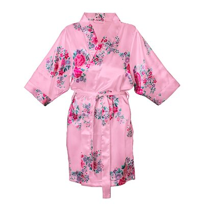 Floral Satin Robe Color: Pink, Size: S - M
