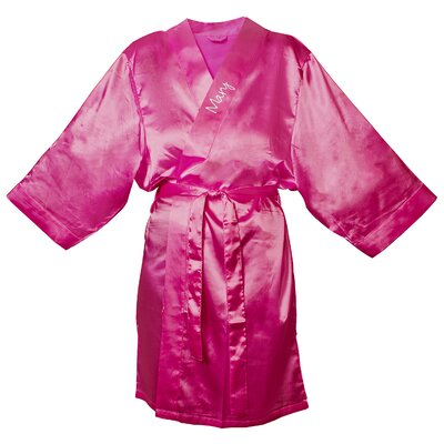 Satin Robe Color: Fuchsia, Size: L - XL