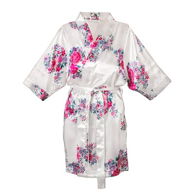 Floral Satin Robe Color: White, Size: 1XL - 2XL