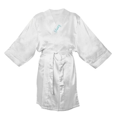 Satin Robe Color: White, Size: 1XL - 2XL