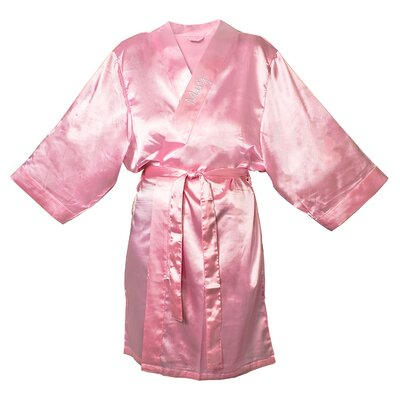 Satin Robe Color: Light Pink, Size: 1XL - 2XL