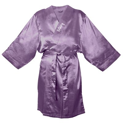 Satin Robe Color: Purple, Size: 1XL - 2XL