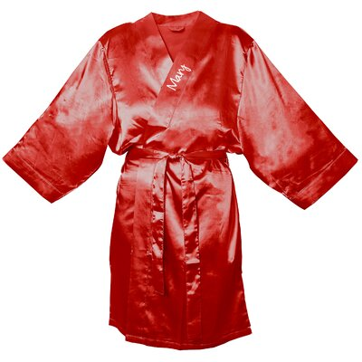 Satin Robe Color: Red, Size: S - M