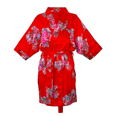 Floral Satin Robe Color: Red, Size: 1XL - 2XL