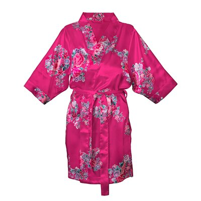 Floral Satin Robe Color: Fuchsia, Size: L - XL