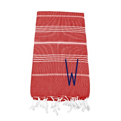 Personalized Red Turkish Bath Towel Color: W