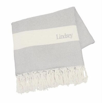 Personalized Cotton Throw Blanket Color: Grey