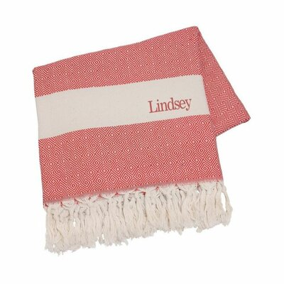 Personalized Cotton Throw Blanket Color: Red