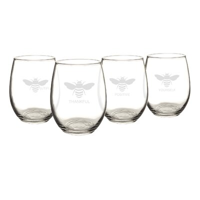 Thankful 21 Oz. Bee Stemless Wine Glasses BEE-1110
